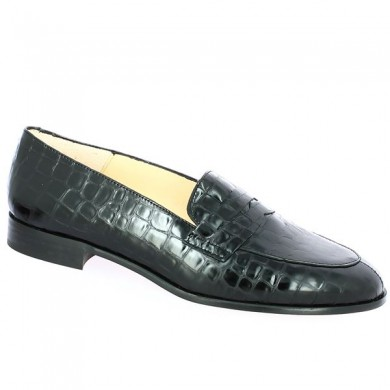 Big Size Moccasin Black Crocodile