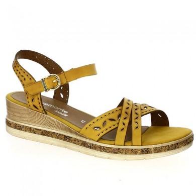 Sandale grande taille compensée jaune remonte D3055-68