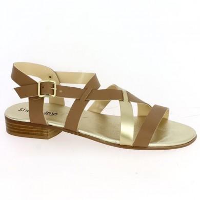 Sandale camel grande taille Femme Shoesissime