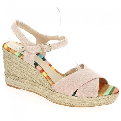 Espadrille Mode Rose Pale Chaussure Grande Taille Femme